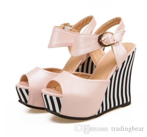 Plus Size 40 41 42 43 luxury heels navy striped platform wedge sandals for women small Size 33 34