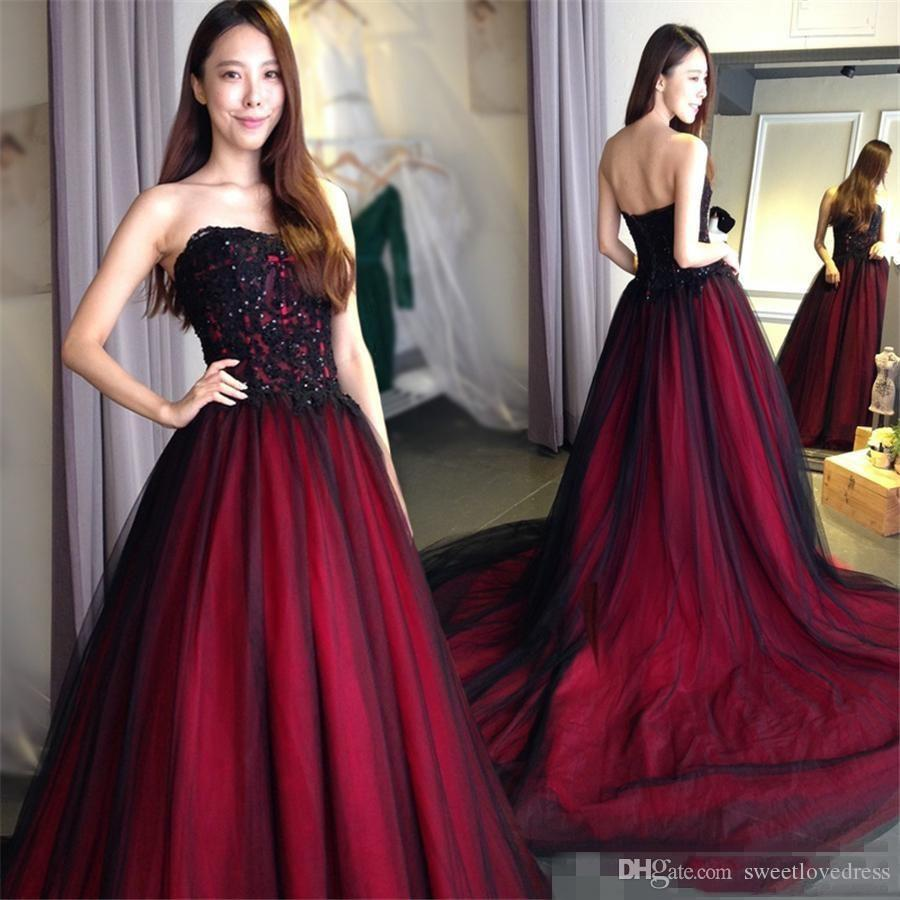 2019 Black And Burgundy Gothic Prom Dresses With Sweetheart Crystal Beaded  Lace Up Back Floor Length Long Formal Evening Dresses Short Yellow Prom  Dresses ... 507ec045607a
