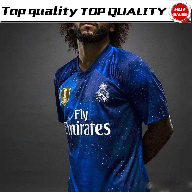 d3945fa385 Compre 2019 Real Madrid Edição Limitada Camisa De Futebol Azul EA Sports  Jerseys # 12 MARCELO # 10 MODRIC Camisas De Futebol Versão Especial Do Real  Madrid ...