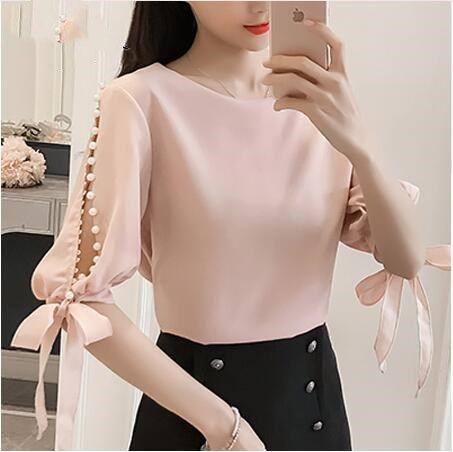 7fdde08ba44 2019 Summer Ladies Tops Chiffon Women Blouse Shirt Fashion Woman Blouses  2019 Pink Beading Feminine Blouses Blusas Femininas From Lovegucci8888