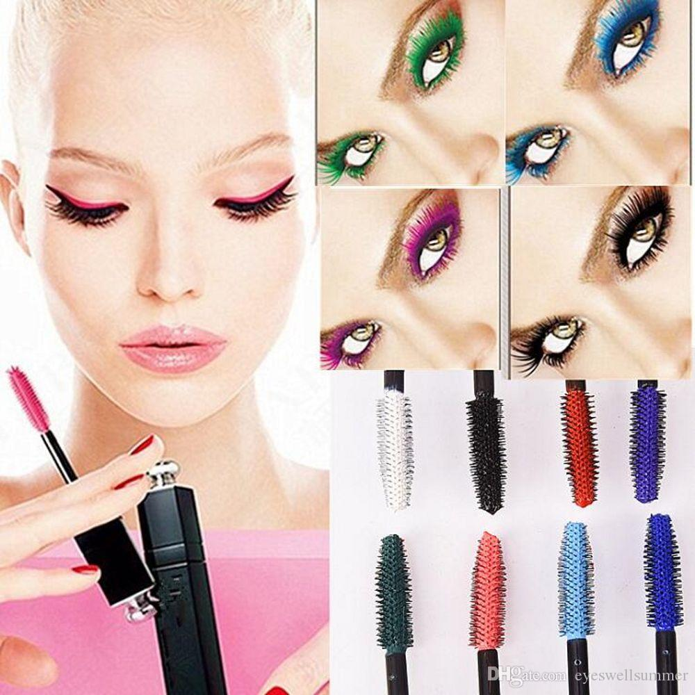Color Mascara Eyes Makeup Waterproof Easy Remove Punk Blue White Red Black Purple Lengthen Eyelashes Professional Color Mascara