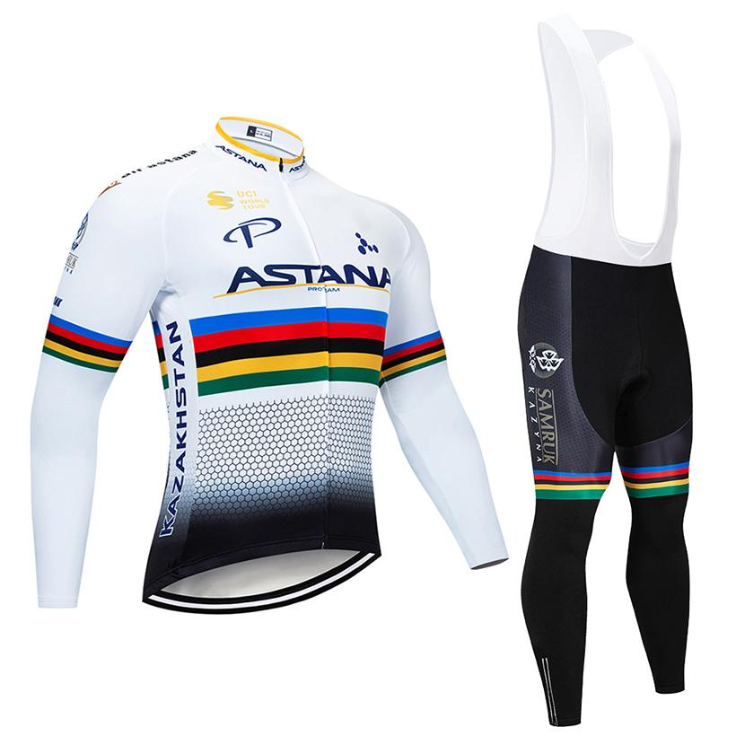 2018 Team ASTANA Long Cycling Jersey Set 12D Pad Bike Pants Ropa Ciclismo  Men Winter Thermal Fleece BICYCLE Maillot Culotte Clothing VINI CYCLING  Jersey PRO ... 6ff346495