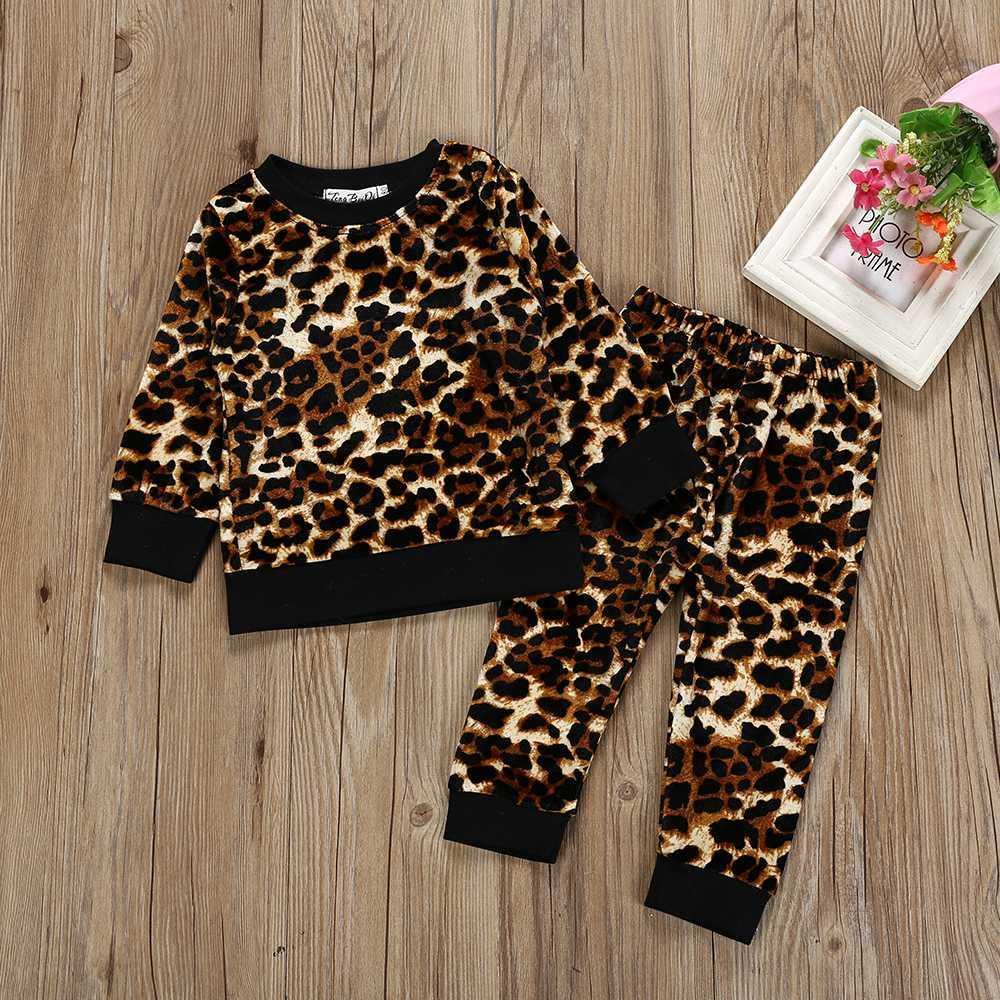 323b7c36c573 children's clothing girl Long Sleeve o-neck Leopard print Tops+Pants Outfits  Set Clothes kid autumn winter suit