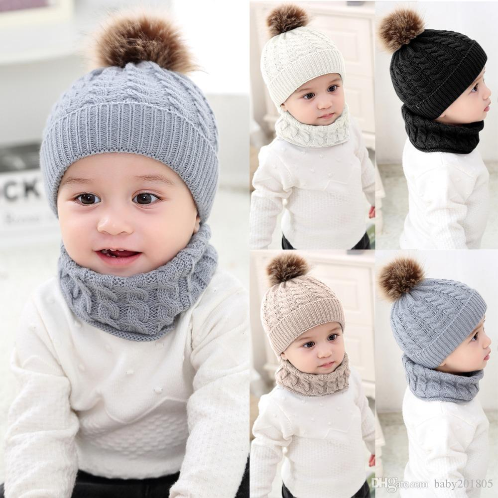 7649abfc28c1b 2019 Girls Boys Cap+Scarf Set Toddler Baby Winter Warm Fur Ball Hats O Ring Scarves  Kids Knitted Beanie Cap+Scarf Keep Warm Set From Baby201805