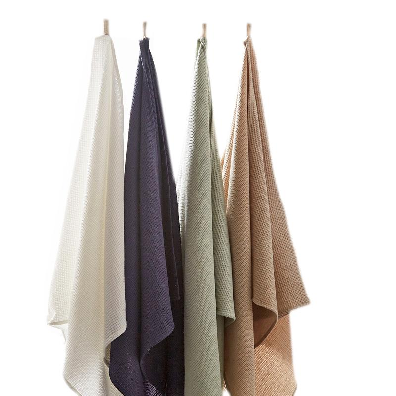 Linen Cotton Waffle Bath Towel Water Absorption And Quick Drying