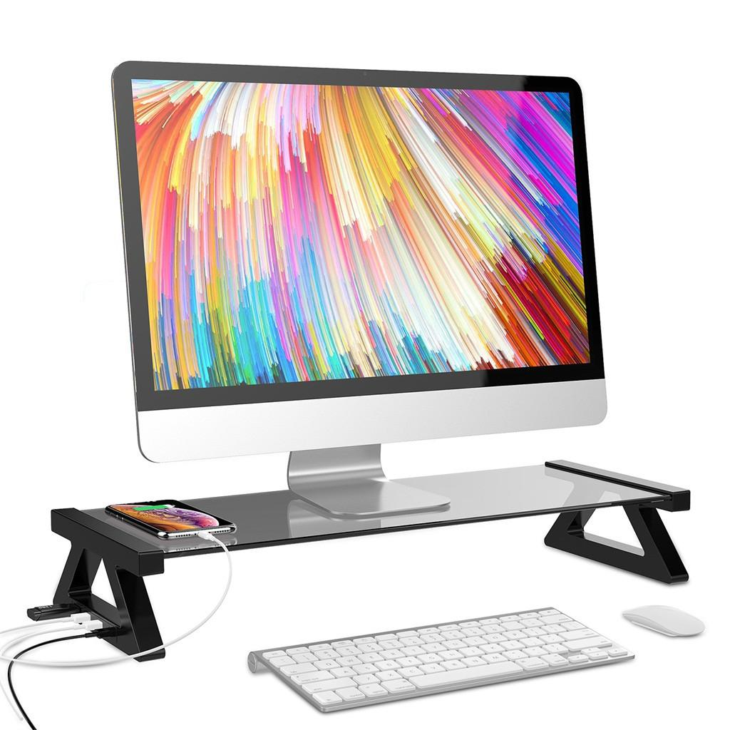 Besegad Aluminum Alloy Monitor Stand Space Bar Dock Desk Riser with 4 USB Ports for iMac Computer Laptop Below 20Inch