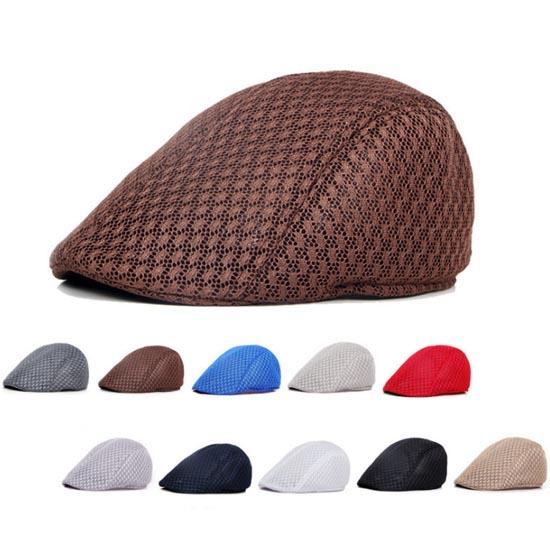 2019 Cheap Men Mesh Flat Caps Solid Color For Spring Summer Men ... a94d71f03a9