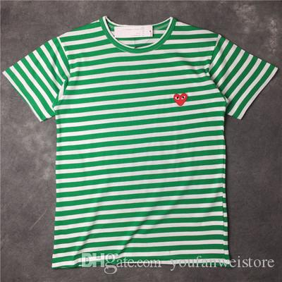 High quality CDG PLAY commes mens designer t shirts OFF With Heart sport tee Shirts des garcons White Pablo stripe Shirts Summer shorts