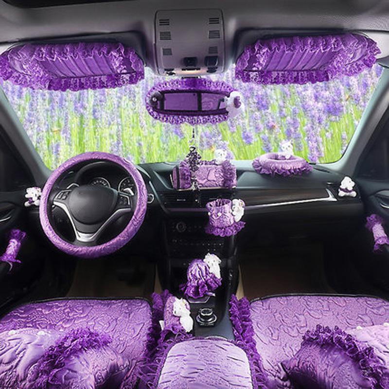 . nterior accessories Purple Car Interior Decoration Accessories For Women  Girls Silk Steeing Wheel Cover Seatbelt Shifter Hand Brake Cover