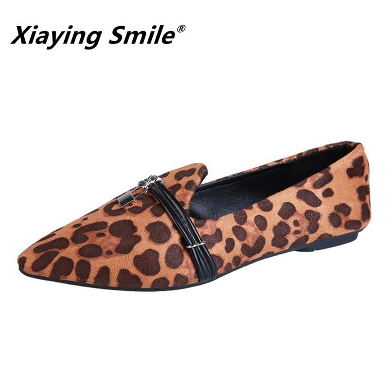 Designer Dress Shoes Xiaying Smile Women Latest Fashion Pumps New Leopard Print Casual Spring Autumn Female Concise Metal Decoration Pumps