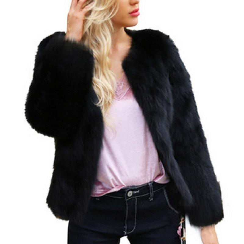 075a3429f2 New Women's Autumn Winter Short Faux Fur Coats with Long Sleeve Round Neck  Solid Black Casual Thin Thick Warm Jackets Plus Size