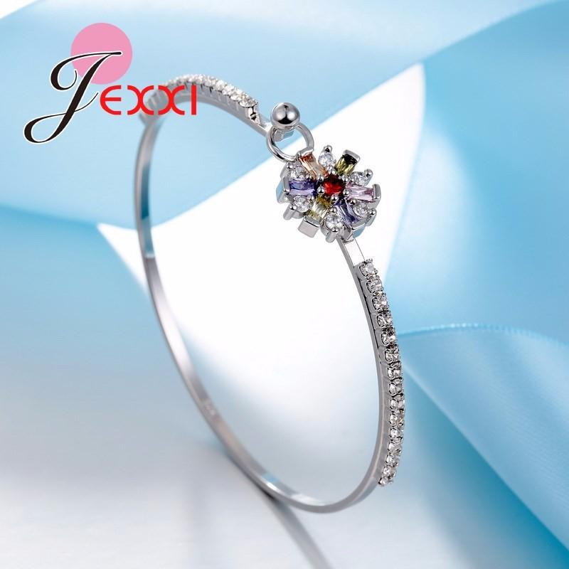 JEXXI New Arrival Best Gifts 925 Sterling Silver Bangle Bracelet for Women Bridal Wedding Accessories Flower Bangles Bijoux