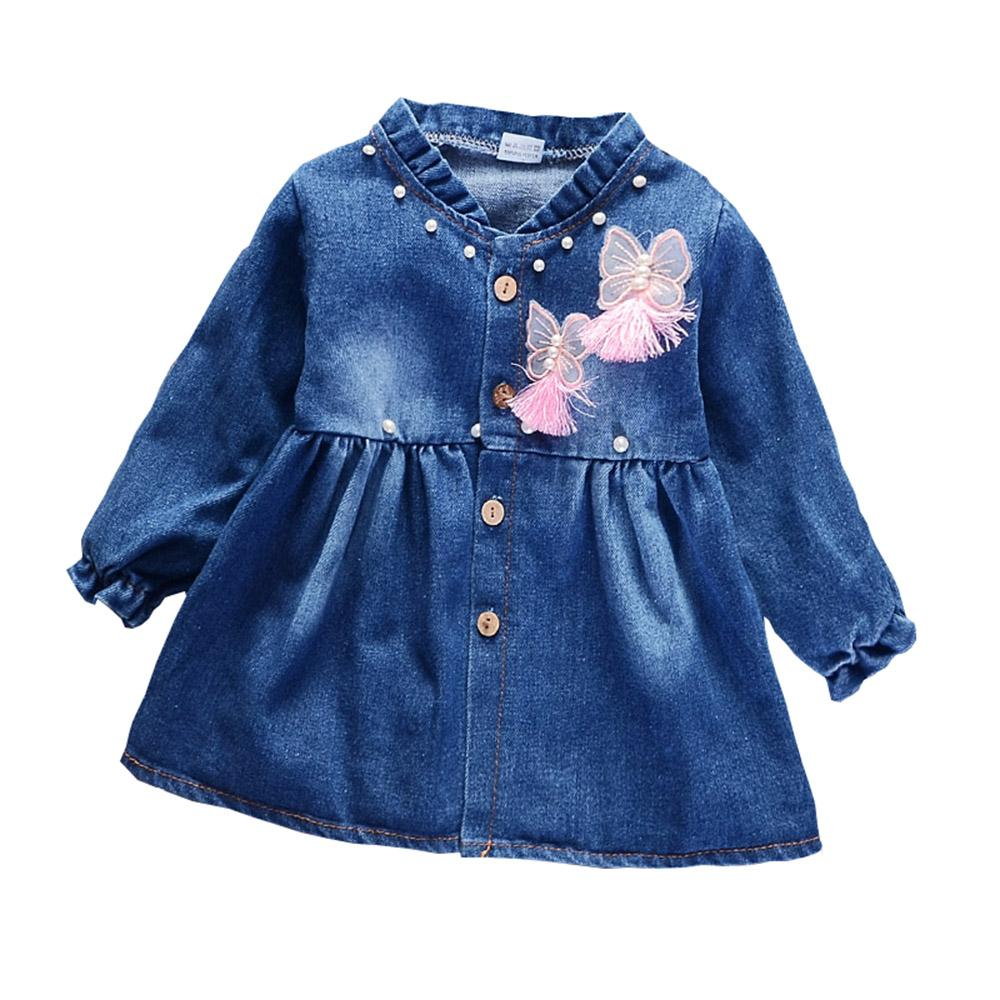 Grosshandel Sring Herbst Kinder Kleid Madchen Jeansjacke Baby Madchen