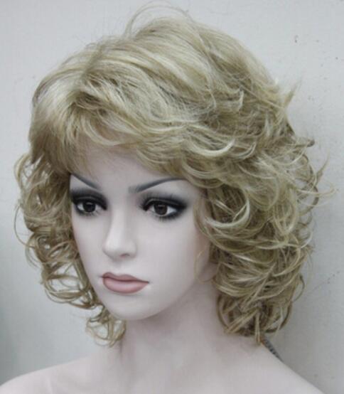 Free Shippin New Elegant Honey Ash Blonde Mix Curly Short Wig