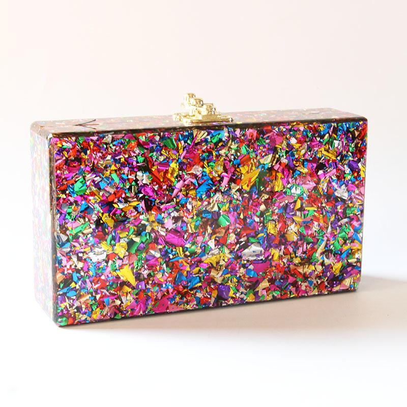 2018 Colorful Color Acrylic Box Clutches Women Messenger Shoulder Day Clutches Lady Fashion Glitter Flap Shell Nice Acrylic BagsMX190823