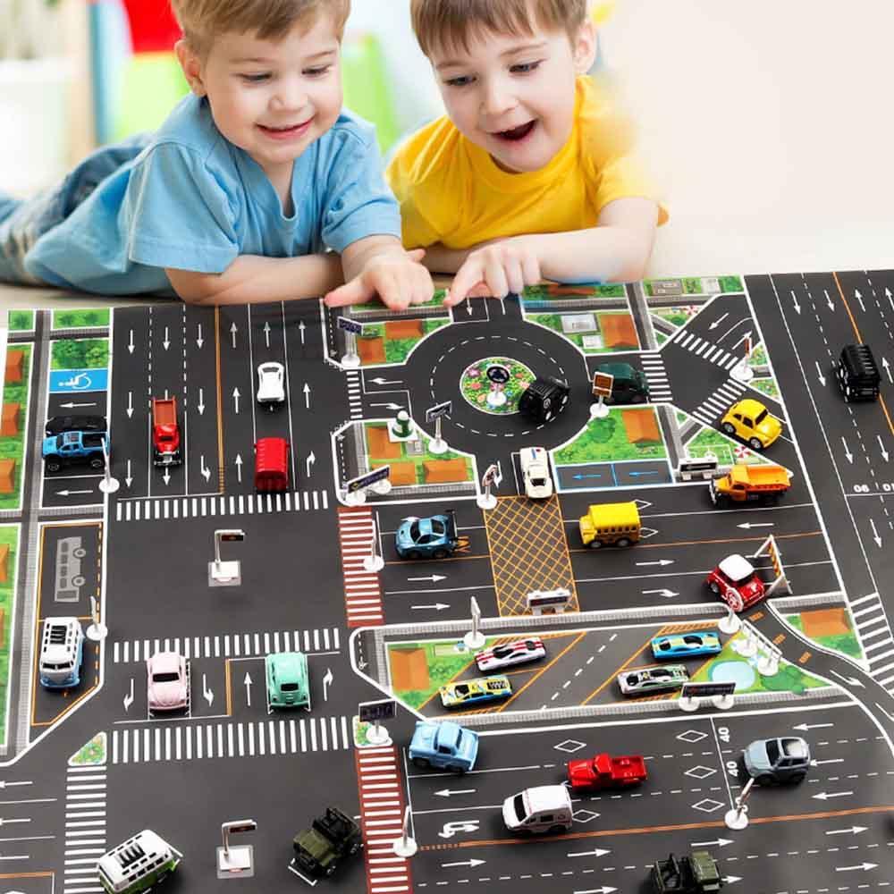 Enfants 130 Escalade Parking Ville X Modèle Version Cm Routière Anglaise Tapis Jouet Voiture Voitures Carte Cadeaux De 100 OXZuPki