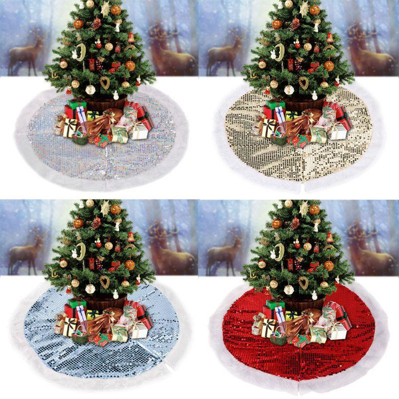 Sequins Plush Christmas Tree Skirt With Invisible Nylon Clasp Christmas Tree Decorative Mat Holiday Household Decor Supplies