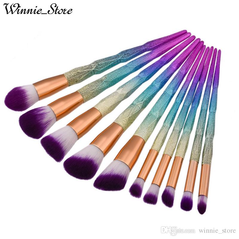 Free Shipping by ePacket! Professional 10pcs Makeup Brushes Set Thread Rainbow Diamond Handle Shape Horn Face Make up Brush Cosmetic Tool