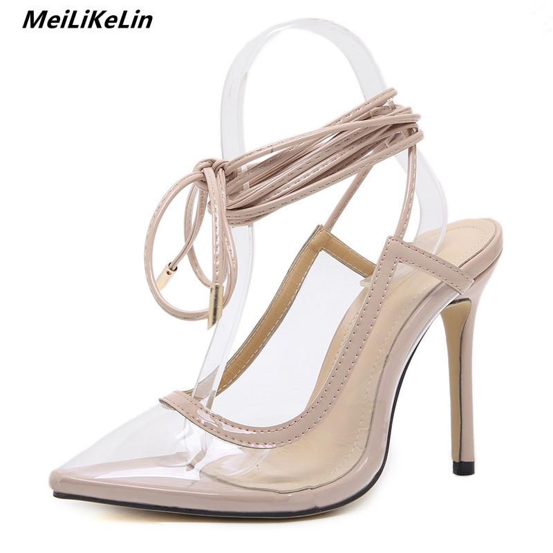 1990dec2c3c Dress Meilikelin Ankle Strap High Heels Pumps Women Transparent Sandals  Gladiator Stilettos Sexy Half Knee Lace Up Pumps Talons Hauts Loafer Shoes  Shoes Uk ...