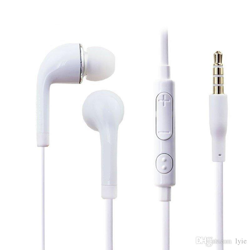 2019 S6 S7 Earphone Earphones J5 Headphones Earbuds Headset for Jack In Ear wired With Mic Volume Control 3.5mm White With RetailBox