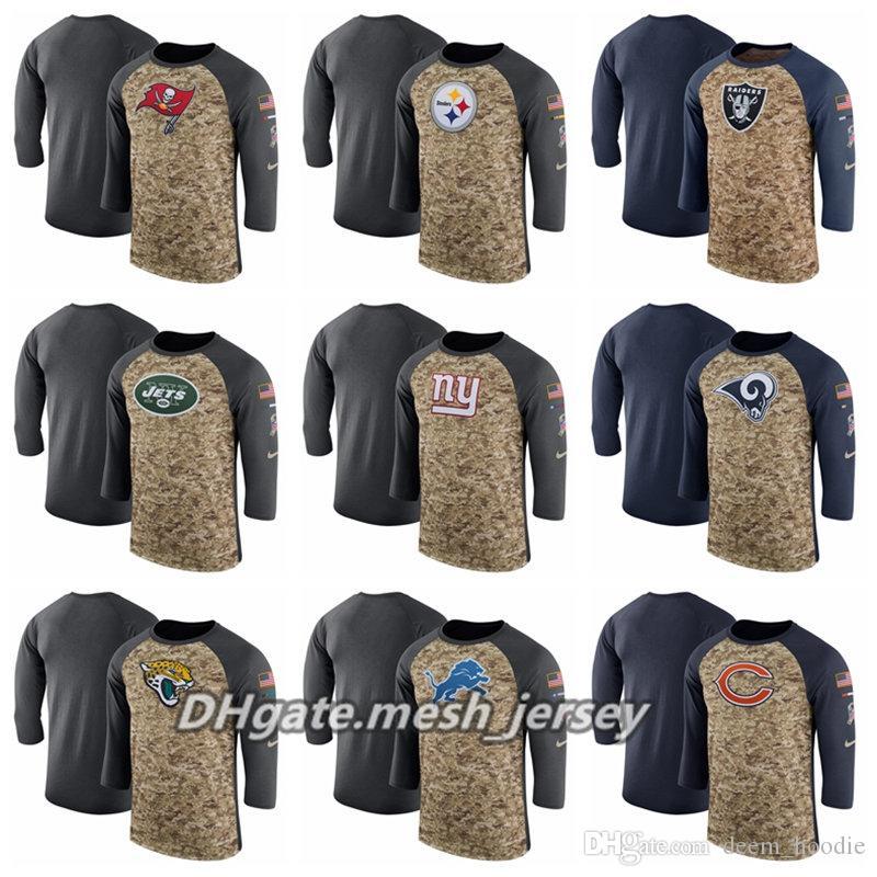 sports shoes 2e1db 07a97 2019 Men Women Redskins Seahawks Salute to Service 49ers Eagles Vikings  Saints Sideline Legend Performance Three-Quarter Sleeve T-Shirt