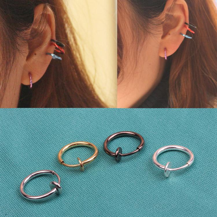 1 Pcs Fashion Punk Clip On Fake Piercing Nose Lip Hoop Rings Earrings 4 Colors Drop Shipping Hot Sale 2019 New Coming