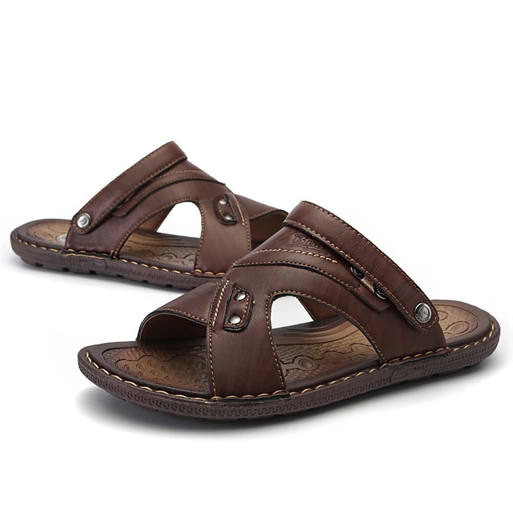 584eaad39 Men S Casual Shoes Fashion Sandals Summer Men S Slippers Leather Shoes  Beach Breathable Home Slippers Flip Flops Zapatos Sapato Mens Sandals Reef  Sandals ...