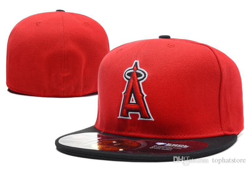 2019 Herren Angels1 Volle Rote Farbe Auf Feld Ausgestattet Hüte in Baseball Bestickt Team A Brief Flache Krempe Hüte Baseball Fans Size Caps