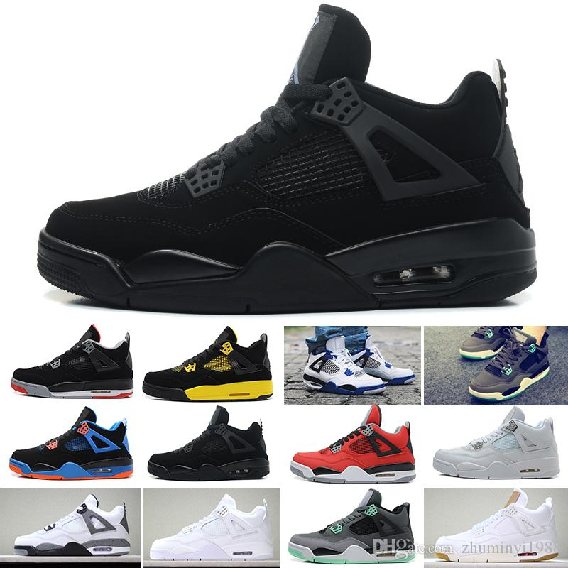 the latest 1575e 6d8fb Großhandel 2019 Nike Air Jordan 4 Retro Herren 4 4 S Basketball Schuhe  Kaktus Jack Weiß Zement Spiel Royal Motor Beste Qualität Herren Sport  Turnschuhe ...