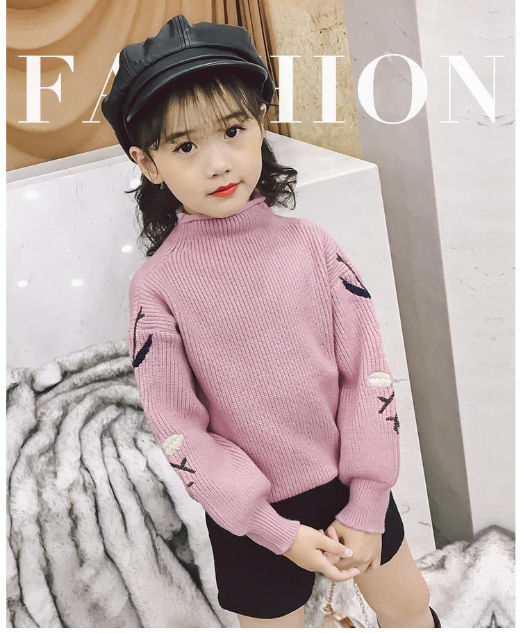 b9d6c4cb9cf Girls Sweater Winter Fall Children Sweater For Girls Spring Fashion Kids  Pullover Embroidery Thicken Flower Sweaters Clothes Knitted Sweater Patterns  For ...
