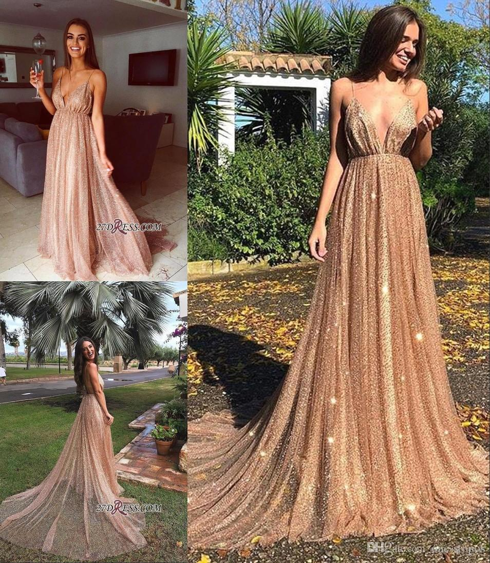 1e6530cc15b New Shinny Prom Dress Long Spaghetti A Line Formal Evening Dresses Deep V  Neck Sparkly Sequins Party Gown Custom Made Prom Dress Canada Prom Dress  Lace From ...