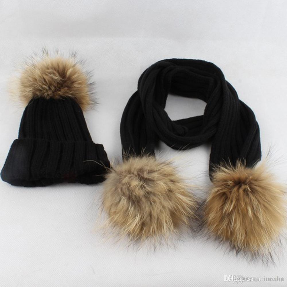 734cd7b091b Hot Sale Baby Cute Winter Keep Warm Set Kids Baby Hat+Scarf Newborn Baby  Boys Girls Ball Knit Bobble Beanie Hat Winter Ski Cap Fur Hats Baby Beanies  From ...