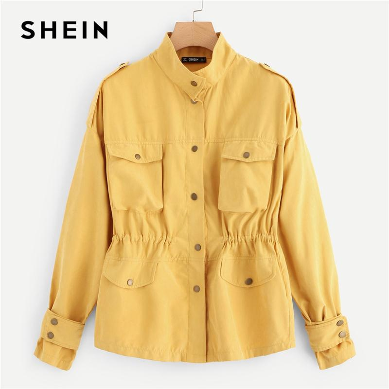 2b916d8e80 SHEIN Casual Yellow Button & Pocket Front Stand Collar Single Breasted  Plain Jacket Autumn Modern Lady Women Coat Outerwear Biker Leather Jackets  Womens ...
