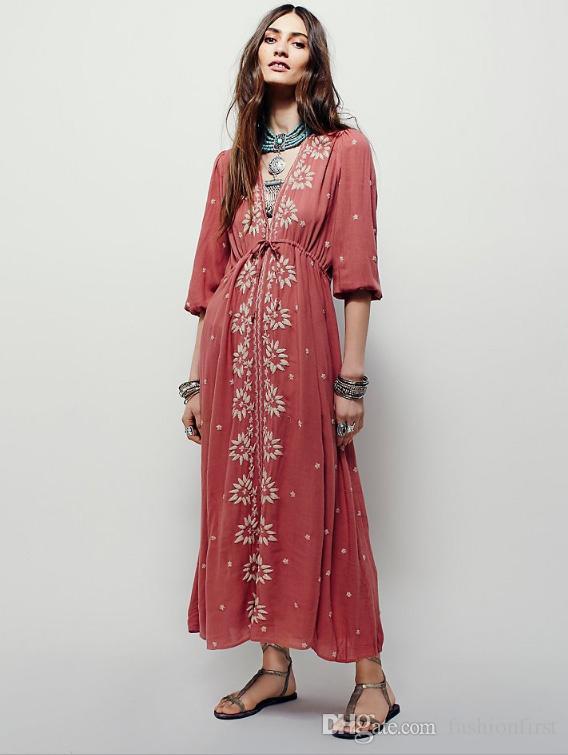 bd439ae5e Compre Moda Feminina Boho Chic Resort Desgaste Bordado Floral Linen Dress  Frete Grátis Mulher De Verão De Alta Qualidade Kimono Vestido De  Fashionfirst, ...