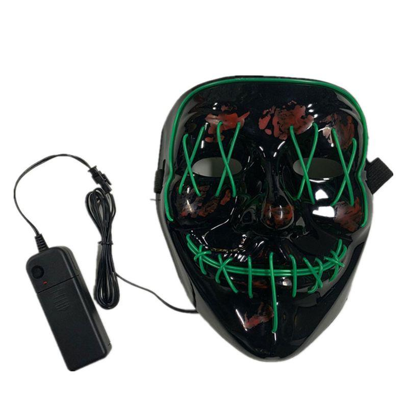 Halloween divertente LED Maschera legare di EL Light Up Skull Mask partito di rave Festival Cosplay 72XF