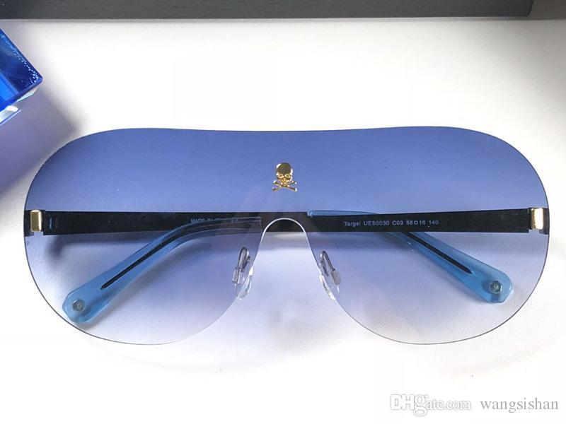 a88471a8f8 Compre 0030 Logotipo De Calavera Moda Gafas De Sol Sin Montura Con Lentes  De Conexión Gafas Vanguardistas Para Hombre Para Mujer Gafas Anti UV 400  Con Caja ...