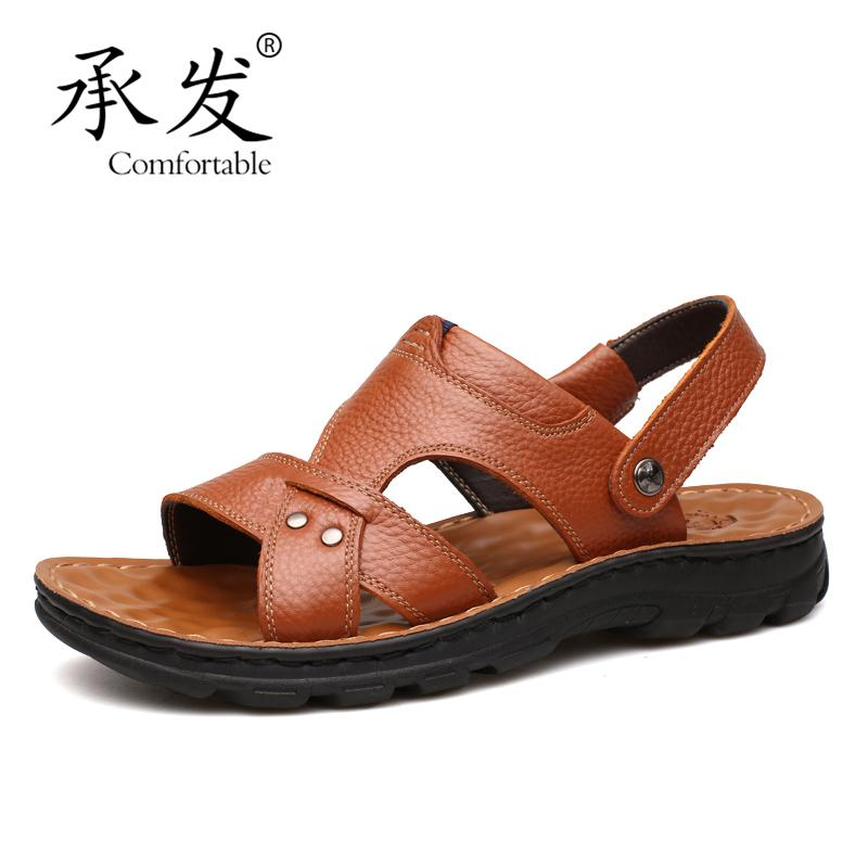 ee6ce1afe1607 High Quality Summer Sandals Leisure Beach Leather Shoes Men New Sandals  Genuine Leather Shoes Men Fashion Summer For Male Wedge Sandals Jesus  Sandals From ...