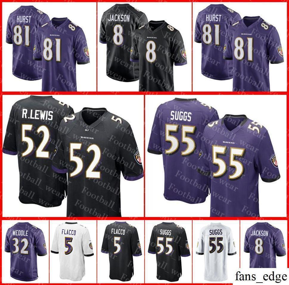 2019 Baltimore Jersey 8 Lamar Jackson 52 Ray Lewis 9 Justin Tucker 55  Terrell Suggs Hayden Hurst Ravens C.J. Mosley Joe Flacco Football Jerseys  From ... e580f72f9