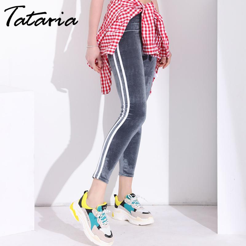 Slim Push Up Leggings Women Side White Stripe Sexy Womens Velvet Leggings Mujer Skinny Pants Woman 2019 Striped Legging Femme C19040801