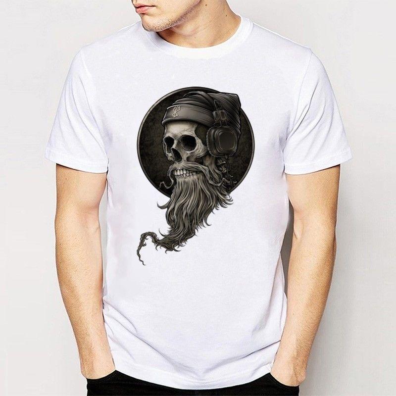 ed528b87 Fashion Summer Short Sleeve Men's Tshirt Skulls Printed Tops White O ...