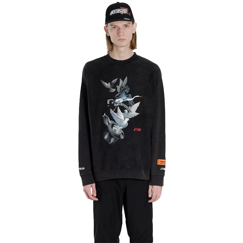 Heron Preston Skull Flame Print Hoodies Letter Slogan Patchwork Fashion Designer Sweatshirts Teenager Clothing Mens O-neck Pullovers