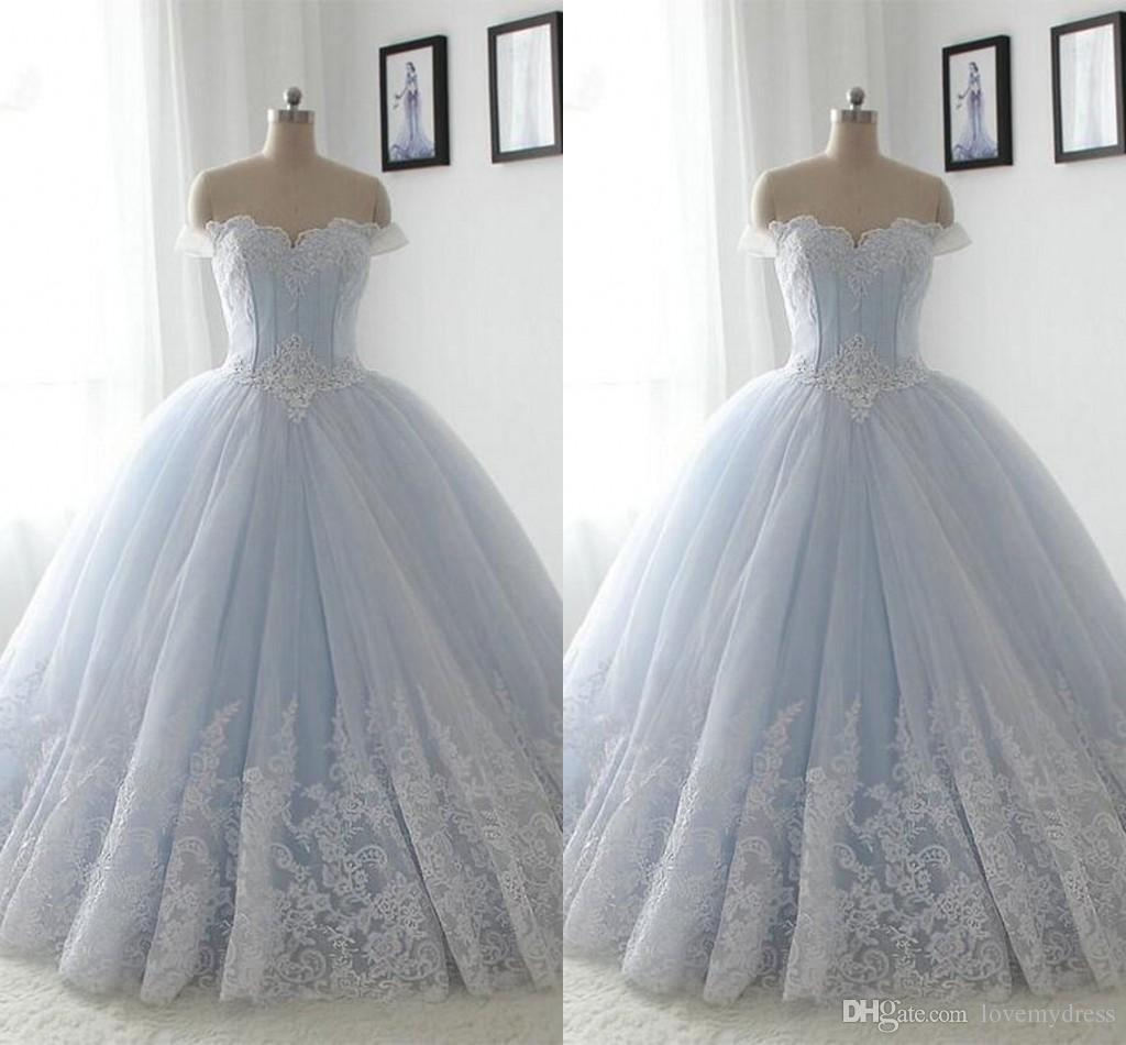 eee8da56b3 Light Sky Blue Ball Gowns Prom Dress Graduation Dress 8th Grade 2019 Off  Shoulder Lace Applique Ruched Lace Up Party Dress Sweet 16 Girl Discounted  Prom ...