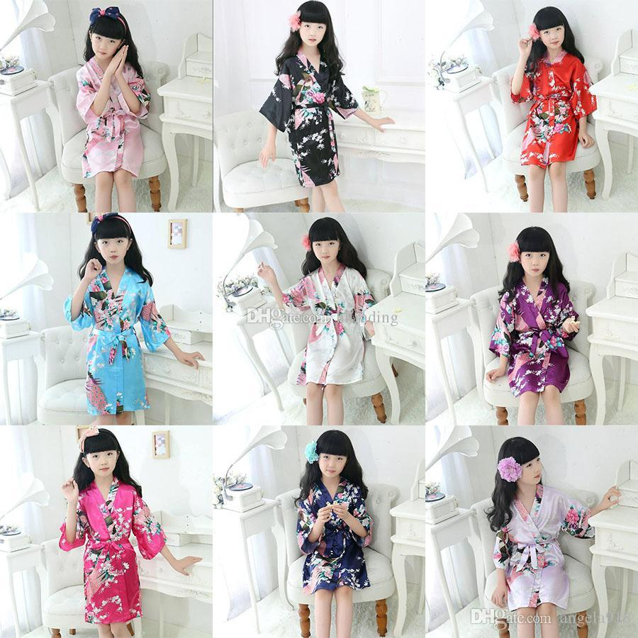 1610b32675 Children Peacock Silk Nightgown Kids Floral Kimono Pajams Baby Girls 2019  Summer Home Sleepwear 9 Styles Nightdress C6716 Girls Short Pyjamas Pajama  For ...