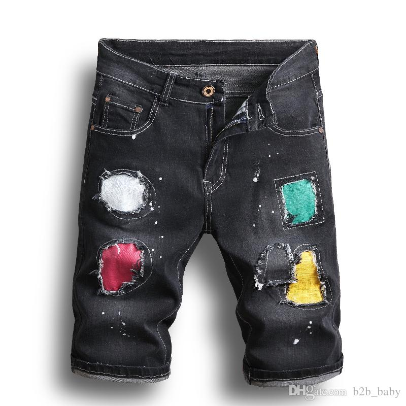 644c275c04 Black Men Denim Patch Jeans Shorts Hole Wash Pants Simple Casual Comfortable  Male Destroyed Hip Pop Short Jeans AAA1968 Shorts For Girls Boy Shorts From  ...