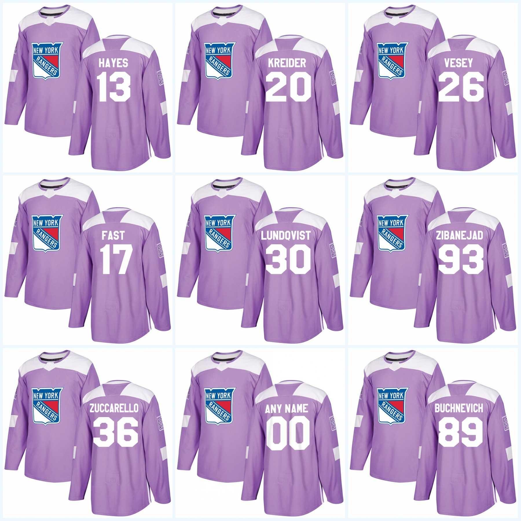save off 600fd 8d578 Youth Henrik Lundqvist New York Rangers Jersey Purple Fights Cancer  Practice 36 Mats Zuccarello 17 Jesper Fast 93 Mika Zibanejad Jerseys