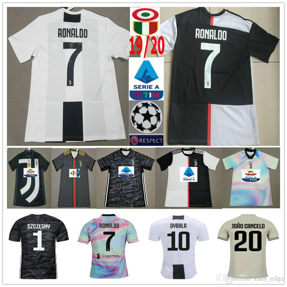 18344ce250c 2019 RONALDO JUVENTUS Soccer Jerseys 2019 RONALDO  7 JUVE 10 DYBALA  MANDZUKIC Custom 19 20 Home Away Third Men Women Kids Youth Football Shirt  From ...