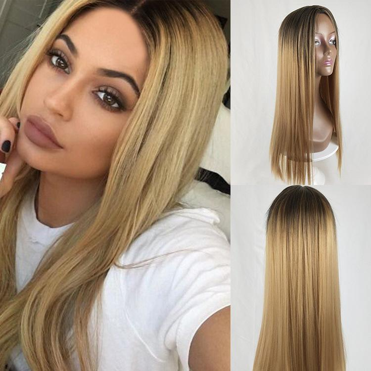 Sexy Ombre Synthetic Wig Black Mix Blonde Lace Front Wigs For Women Best  Synthetic Hair Wavy Wig Heat Safe Role Playing Cosplay Wigs Brown Wigs Full  Lace ... 125e83aeeb