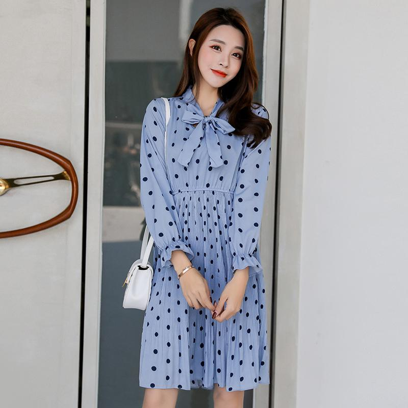 2019 Girl Polka Dot Stand Collar Bow Boho Dress Women Long Sleeve Sexy Short Dress Print Causal Dress Vestidos