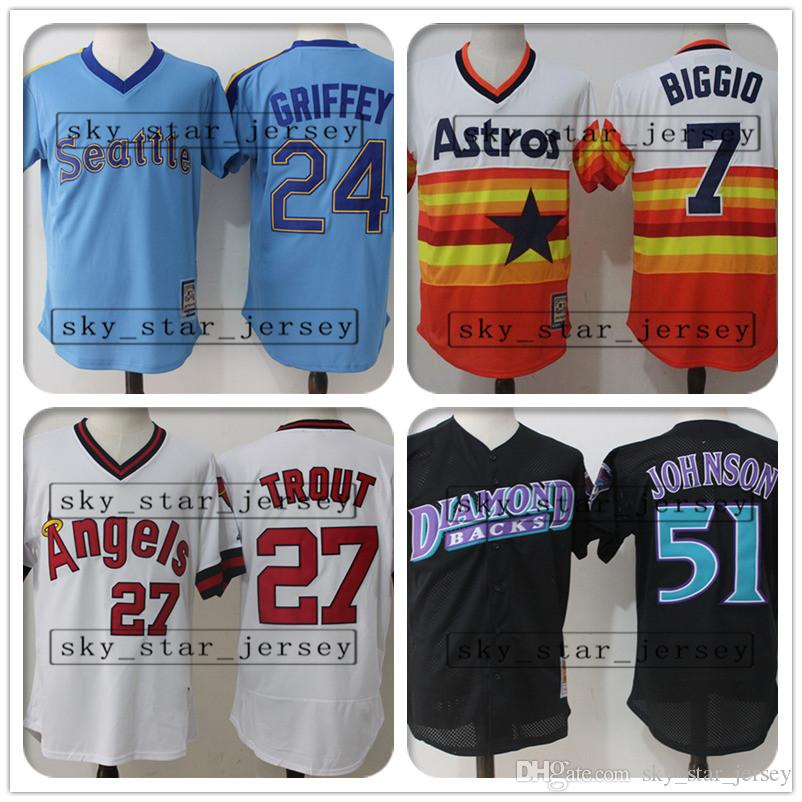 wholesale retro and mesh Mike Trout jerseys Houston jersey Astros Los  Angeles jersey Angels Seattle jerseys Mariners Justin Verlander Randy
