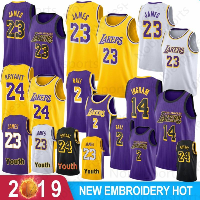ec691a82134 2019 23 James Los Angeles Jersey Laker LeBron Kobe 24 Bryant Kyle 0 Kuzma  Lonzo 2 Ball Brandon 14 Ingram Jerseys Adult Kid From Topsmovement